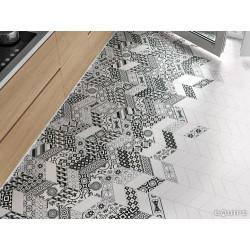 Chevron uni sol ou mur 9x2 cm BLANC MAT -   - Echantillon Equipe
