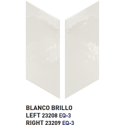 Chevron uni sol ou mur 9x2 cm BLANC BRILLANT -   - Echantillon Equipe