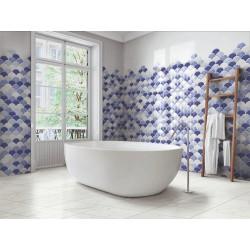 Carreau écailles bleues brillantes 30x30 SCALE SHELL BLUE -    - Echantillon Realonda