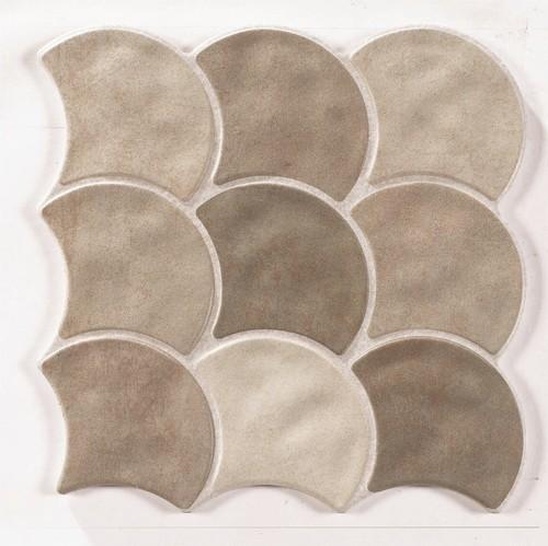 Carreau écaille beige 30x30 SCALE MUD -    - Echantillon - zoom
