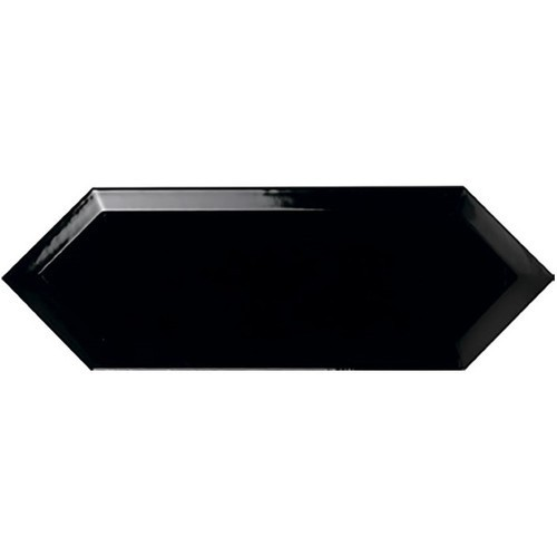 Faience navette biseautée noire brillant 10x30 PICKET BEVELED COAL -   - Echantillon Ribesalbes