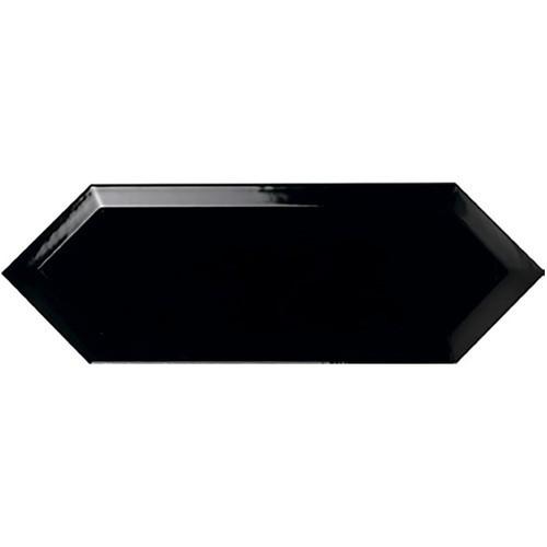 Faience navette biseautée noire brillant 10x30 PICKET BEVELED COAL -   - Echantillon - zoom