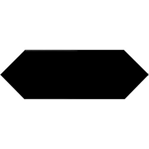 Faience navette crayon noir brillant 10x30 PICKET BLACK -   - Echantillon Ribesalbes