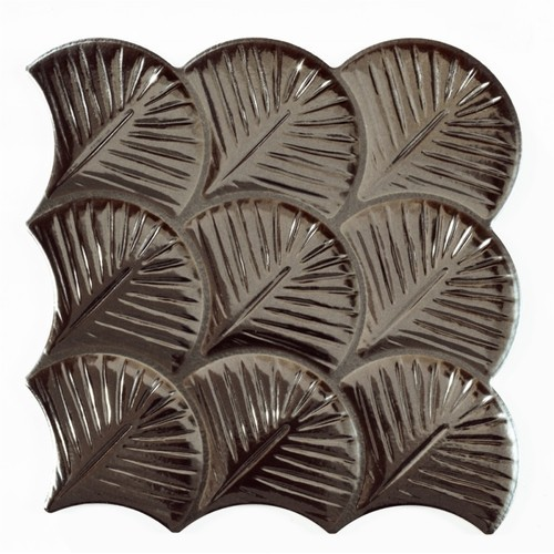 Carreau feuilles brillantes 30x30 SCALE SHELL ANTHRACITE -    - Echantillon Realonda