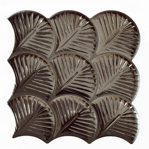 Carreau feuilles brillantes 30x30 SCALE SHELL ANTHRACITE -    - Echantillon - zoom