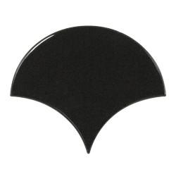 Carreau noir brillant 10.6x12cm SCALE FAN BLACK 21967 - - Echantillon Equipe