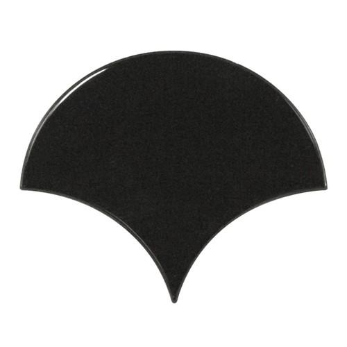 Carreau noir brillant 10.6x12cm SCALE FAN BLACK 21967 - - Echantillon - zoom