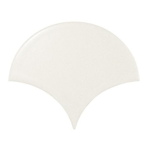 Carreau blanc mat 10.6x12cm SCALE FAN WHITE MATT 21977 - - Echantillon Equipe
