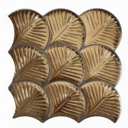 Carreau feuilles dorées brillantes 30x30 SCALE SHELL GOLD -    - Echantillon Realonda