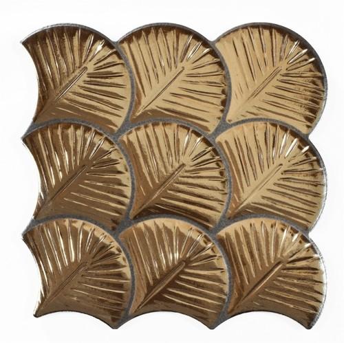 Carreau feuilles dorées brillantes 30x30 SCALE SHELL GOLD -    - Echantillon - zoom