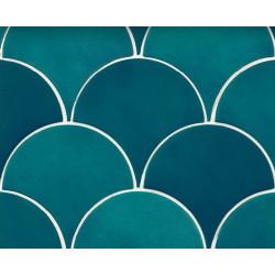 Faience écaille bleu canard 12.7x6.2 SQUAMA OLIVE -   - Echantillon Natucer