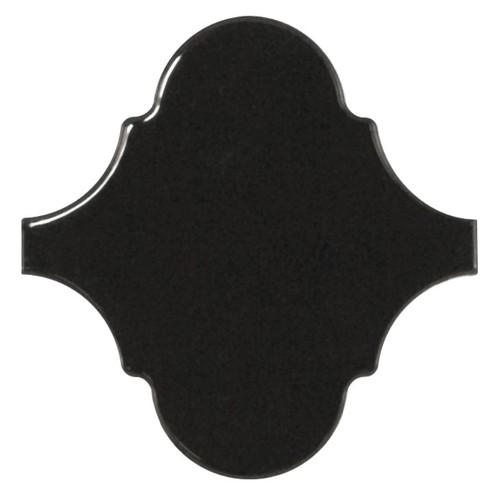 Carreau noir brillant 12x12cm SCALE ALHAMBRA BLACK - 21935 -  - Echantillon - zoom
