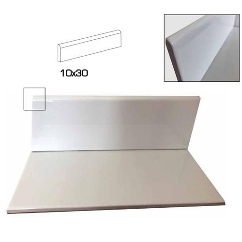 Plinthe blanche brillante 10x30 cm grès cérame - unité - Echantillon - zoom
