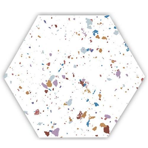 Tomettes terrazzo colorées 25x29 cm HEX-STRACCIATELLA WHITE NATURAL - 0.935m² - zoom