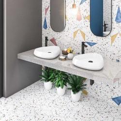 Tomettes terrazzo colorées 25x29 cm HEX-STRACCIATELLA WHITE NATURAL - 0.935m² Aparici