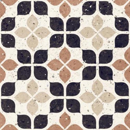 Carrelage à motif effet terrazzo 20x20 cm TERRACOTTA FIORE - 1.16 m² - zoom