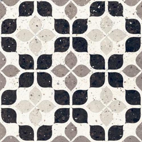 Carrelage à motif effet terrazzo 20x20 cm BIANCO FIORE - 1.16m² - zoom