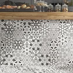 Tomettes décorées ciment 20x24 VERSALLES DECO BLACK - 0.915m²