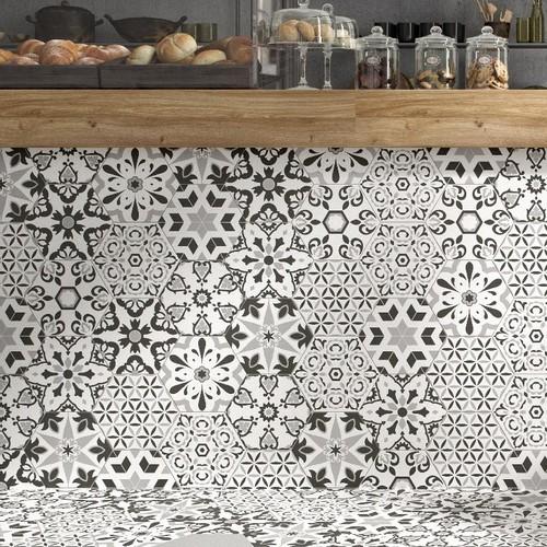 Tomettes décorées ciment 20x24 VERSALLES DECO BLACK - 0.915m² - zoom