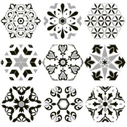 Tomettes décorées ciment 20x24 VERSALLES DECO BLACK - 0.915m² Oset