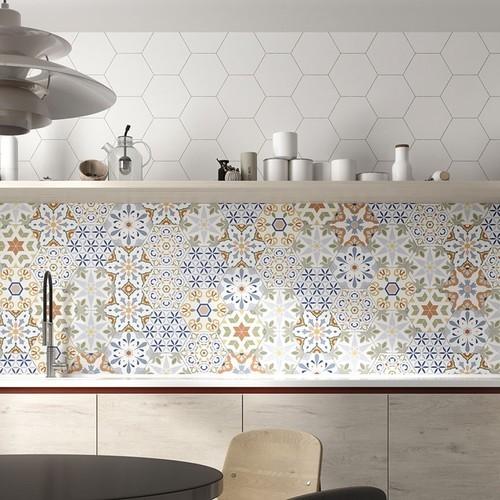 Tomettes décorées ciment 20x24 VERSALLES DECO COLORS - 0.915m² - zoom