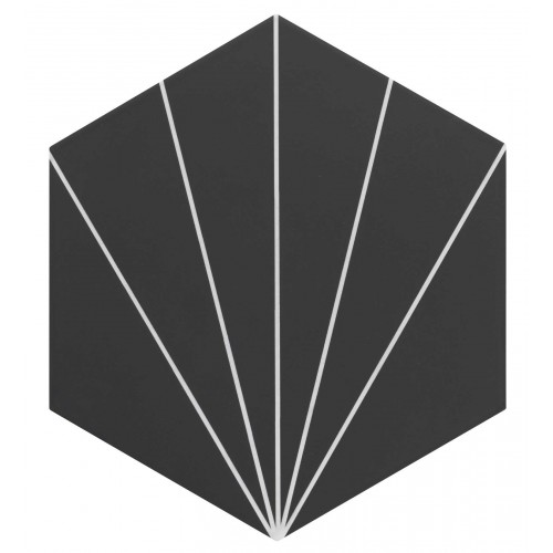 Carreau tomette noir dandelion 33x28.5 VENUS Black - 1m² Realonda