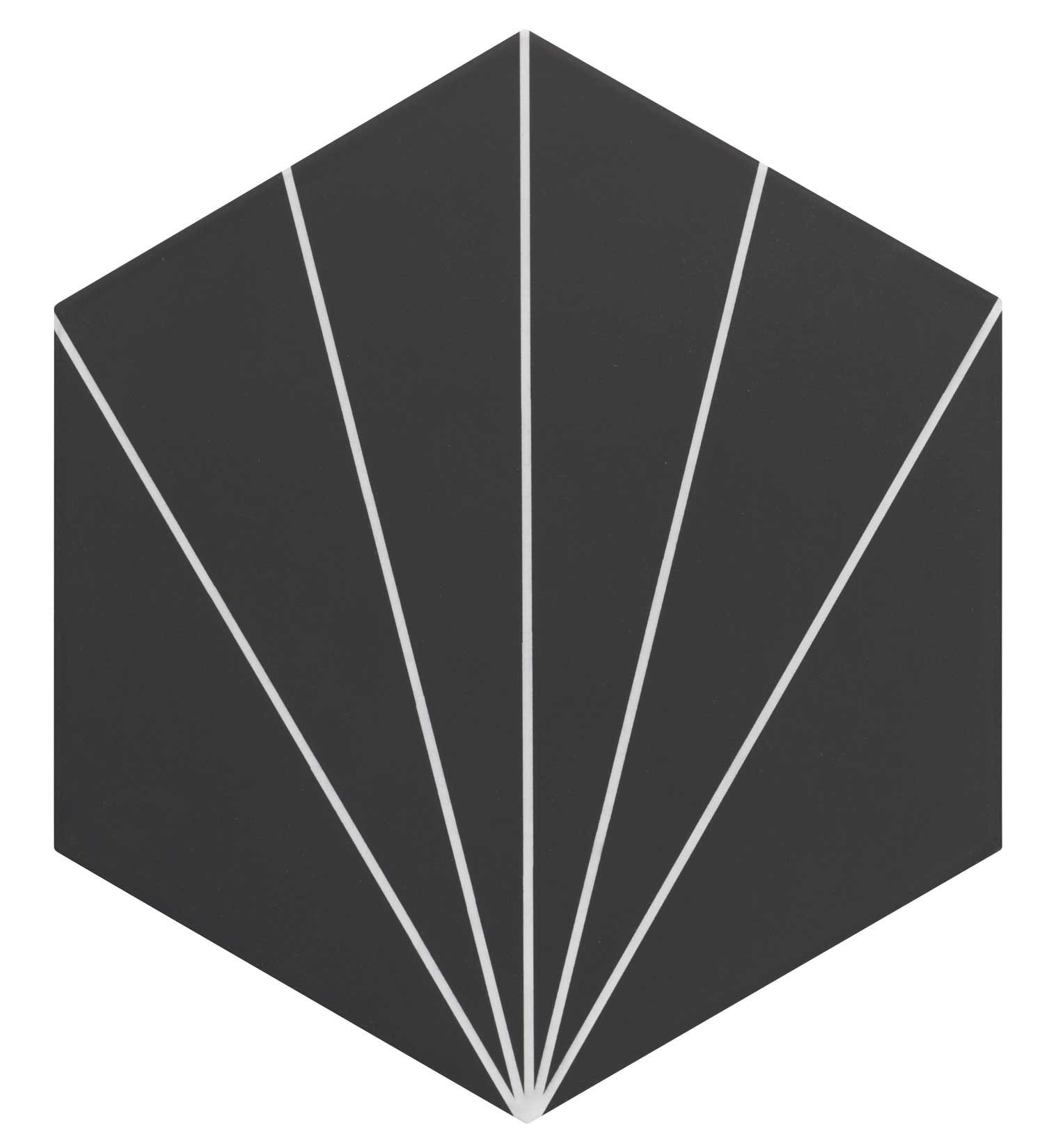Carreau tomette noir dandelion 33x28.5 VENUS Black - 1m² - zoom
