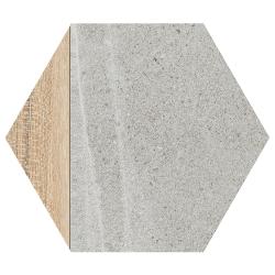 Carrelage hexagonal tomette effet pierre bois 23x26.6cm HEXAGONO LIGARD Gris- 0.504m²