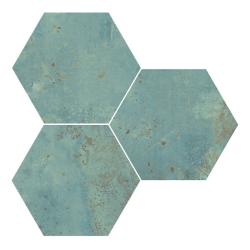Carrelage tomette métallisée ZINC GREEN NATURAL 25X29 cm - R10 - 0.935 m²