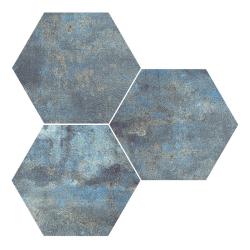 Carrelage hexagonal effet rouille bleu ALCHEMY BLUE NAT 25x30 cm - R10 - 0.935m²