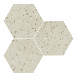 Carrelage hexagonal effet terrazzo SOUTH GREY NATURAL 25x30 cm - R10 - 0.935m²
