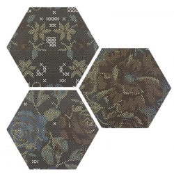 Carrelage hexagonal décoré style rétro PUNTO CROCE BLACK DECOR 25x30 cm - R10 - 0.935m²