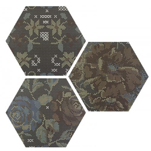 Carrelage hexagonal décoré style rétro PUNTO CROCE BLACK DECOR 25x30 cm - R10 - 0.935m² Apavisa