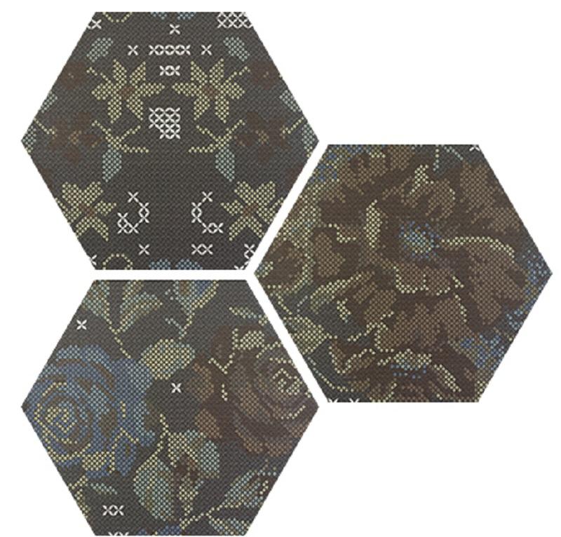 Carrelage hexagonal décoré style rétro PUNTO CROCE BLACK DECOR 25x30 cm - R10 - 0.935m² - zoom