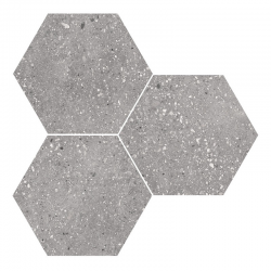 Carrelage hexagonal effet terrazzo WIND GREY NAT - 25x30 cm - R10 - 0.935m²