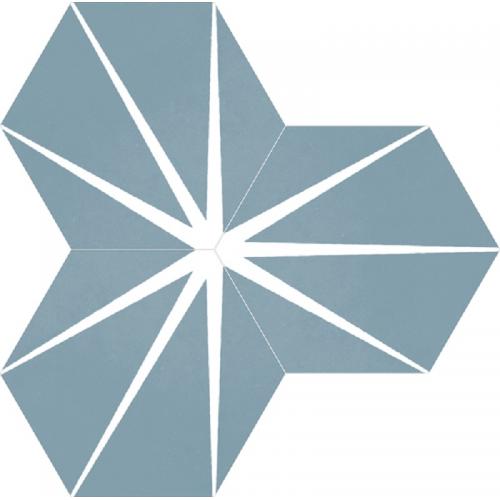 Tomette bleue décorée STARLINE BLUE NAT - Hexagone 25x30 cm - 0.935m² Apavisa
