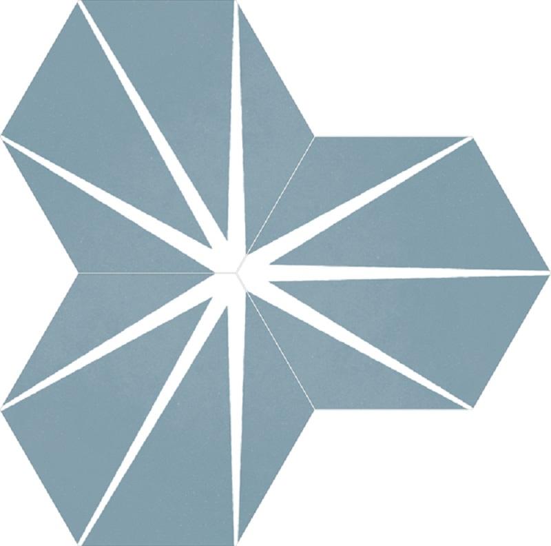 Tomette bleue décorée STARLINE BLUE NAT - Hexagone 25x30 cm - 0.935m² - zoom