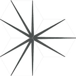 Tomette blanche décorée STARLINE WHITE NAT - Hexagone 25x30 cm - R10 - 0.935m²