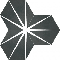 Tomette noire décorée STARLINE BLACK NAT - Hexagone 25x30 cm - 0.935m²