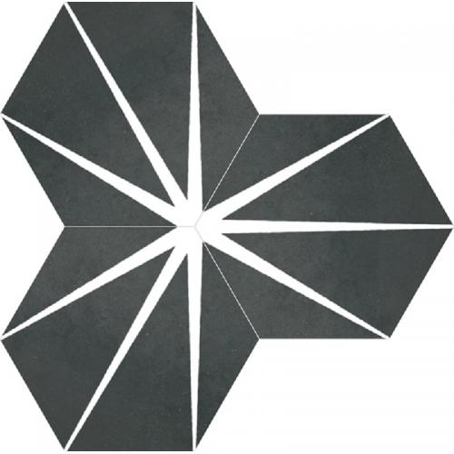 Tomette noire décorée STARLINE BLACK NAT - Hexagone 25x30 cm - 0.935m² Apavisa