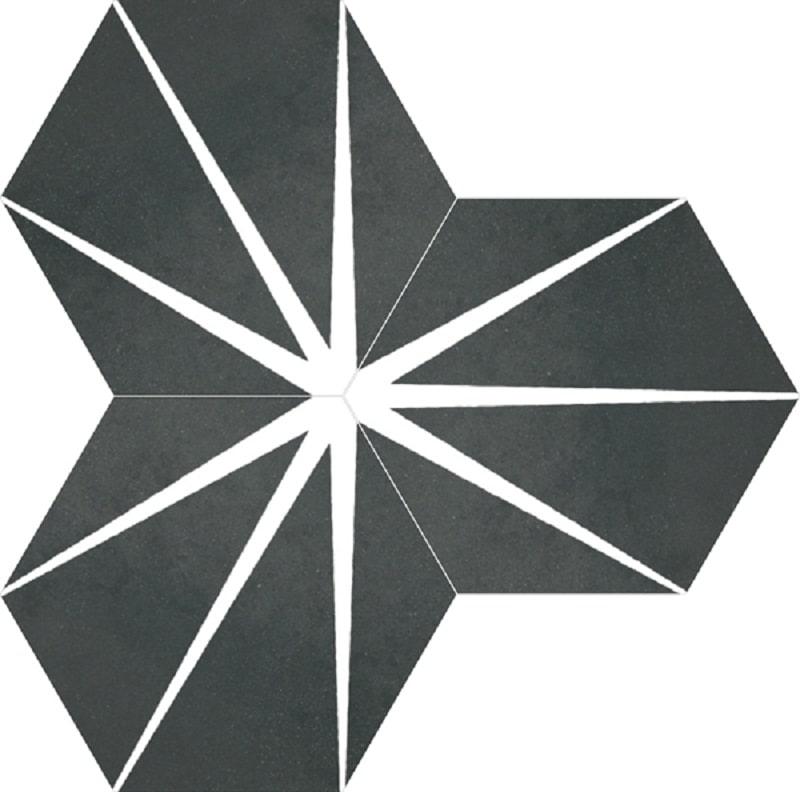 Tomette noire décorée STARLINE BLACK NAT - Hexagone 25x30 cm - 0.935m² - zoom