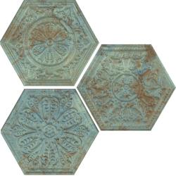 Carrelage hexagonal aspect métal décoré ZINC GREEN MIX DECOR 25x30 cm - 0.935m²