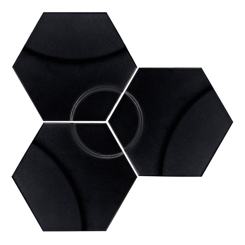 Carrelage hexagonal décors vagues INTUITION BLACK WAVES 25x30 cm - 0.935m² - zoom