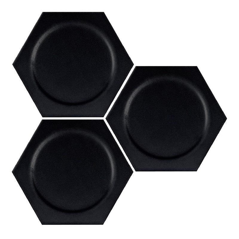 Carrelage hexagonal décors ronds INTUITION BLACK CIRCLE 25x30 cm - 0.935m² - zoom