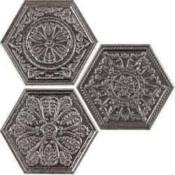 Carrelage hexagonal aspect argent décoré ZINC SILVER MIX DECOR 25x30 cm - 0.935m²