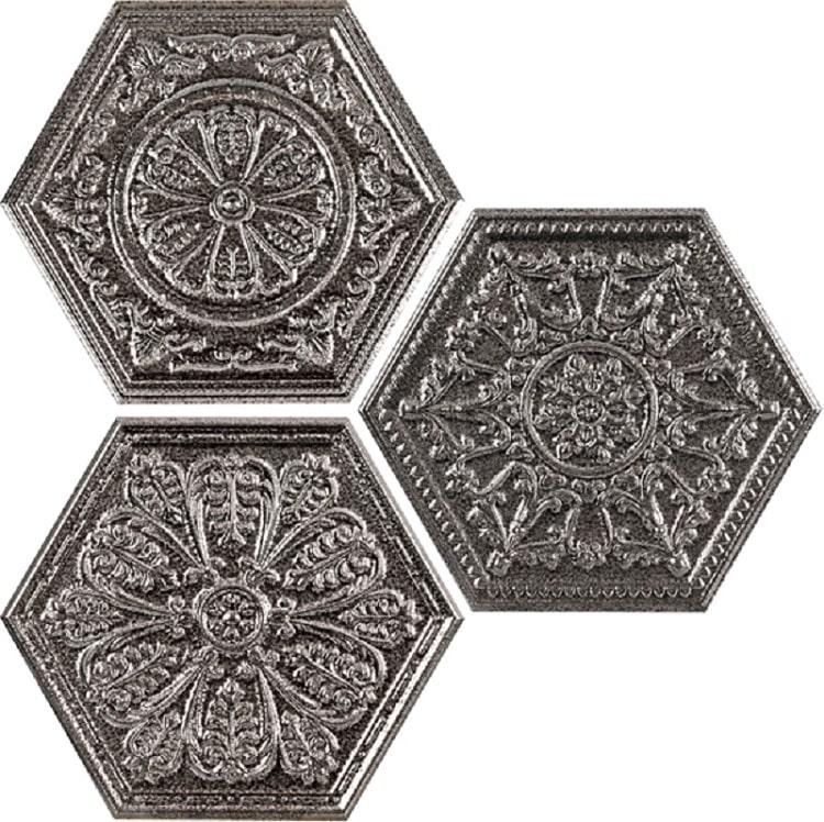 Carrelage hexagonal aspect argent décoré ZINC SILVER MIX DECOR 25x30 cm - 0.935m² - zoom