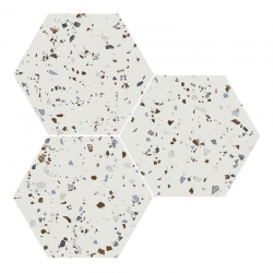 Carrelage hexagonal effet terrazzo SOUTH WHITE NATURAL 25x30 cm - R10 - 0.935m²