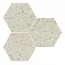 Carrelage hexagonal effet terrazzo SOUTH GREEN NATURAL 25x30 cm - R10 - 0.935m²