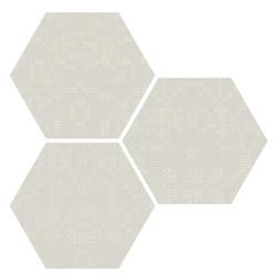Carrelage hexagonal décoré style rétro PUNTO CROCE WHITE 25x30 - 0.935m²