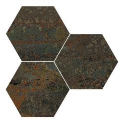 Carrelage hexagonal effet industriel RUST GREEN NAT 25x30 cm - 0.935m²